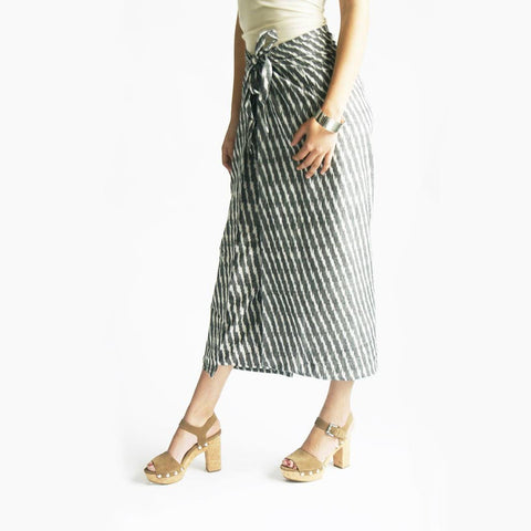 Wide Leg Cotton Palazzo Pants Grey Stripe Ikat Wrap Trousers