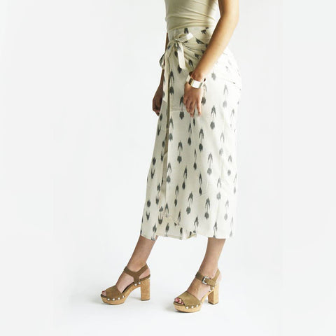 Wide Leg White Grey Tulip Ikat Wrap Palazzo Pants