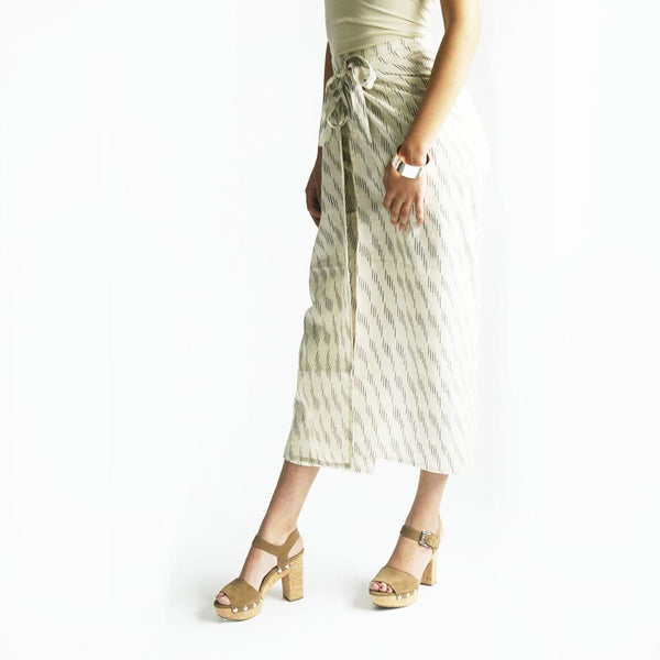 Wide Leg Cotton White Grey Stripe Ikat Wrap Palazzo Pants