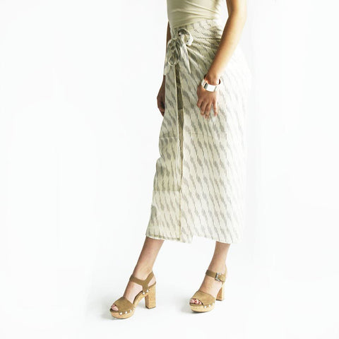 Natural White Grey Cotton Stripe Ikat Wrap - Pants - Rustic Loom