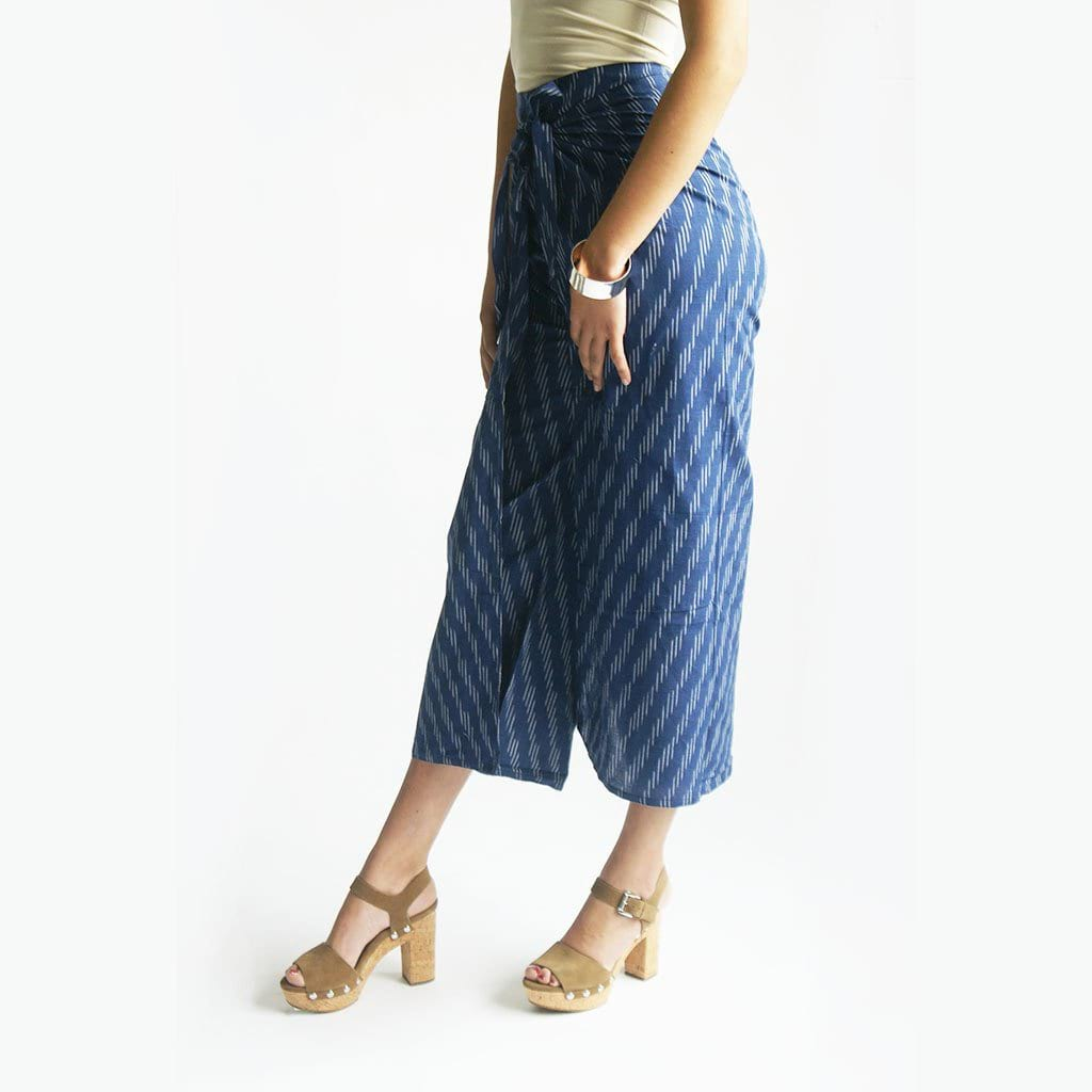Wide Leg Cotton Wrap Navy Blue Indigo Ikat Palazzo Pants
