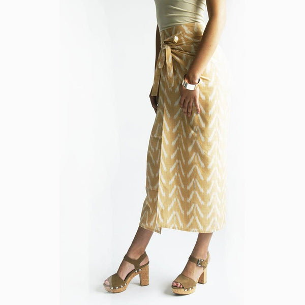 Wide Leg Cotton Wrap Beige Peach Ikat Palazzo Pants