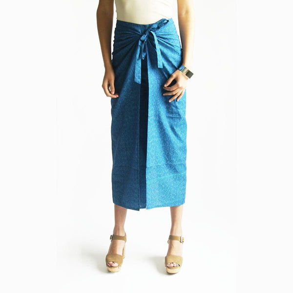 Wide Leg Cotton Wrap Pants Turquoise Ikat Palazzo Wide Leg Trousers