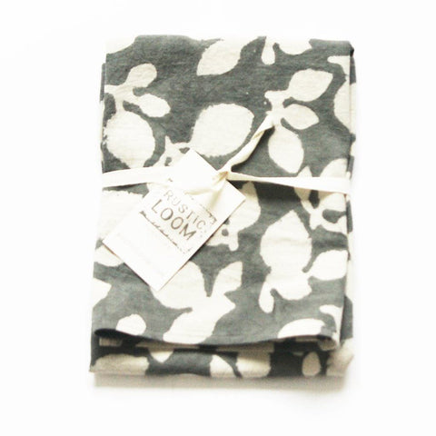 Grey Cotton Tea Towel Handprinted Leaf Pattern