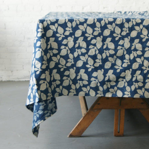 Cotton Block Print Tablecloth Indigo Blue Leaf Pattern