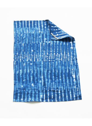 Indigo Blue Stripe Tea Towel Handprinted Batik Linen Kitchen Towel