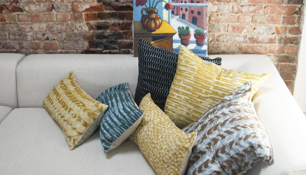 Maize Yellow Linen Thin Stripe Batik Blockprinted Pillow 20 x 20 Square Ethically Made
