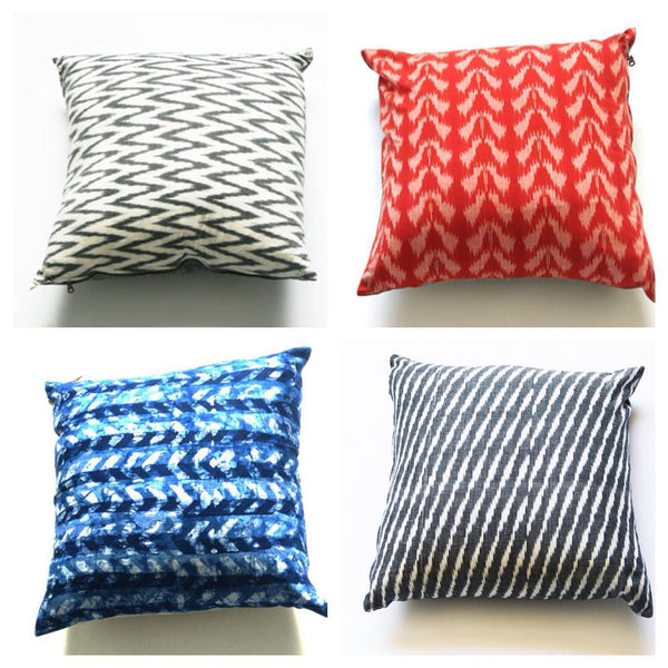 Linen Pillow Cover Indigo Blue Chevron Batik Blockprinted