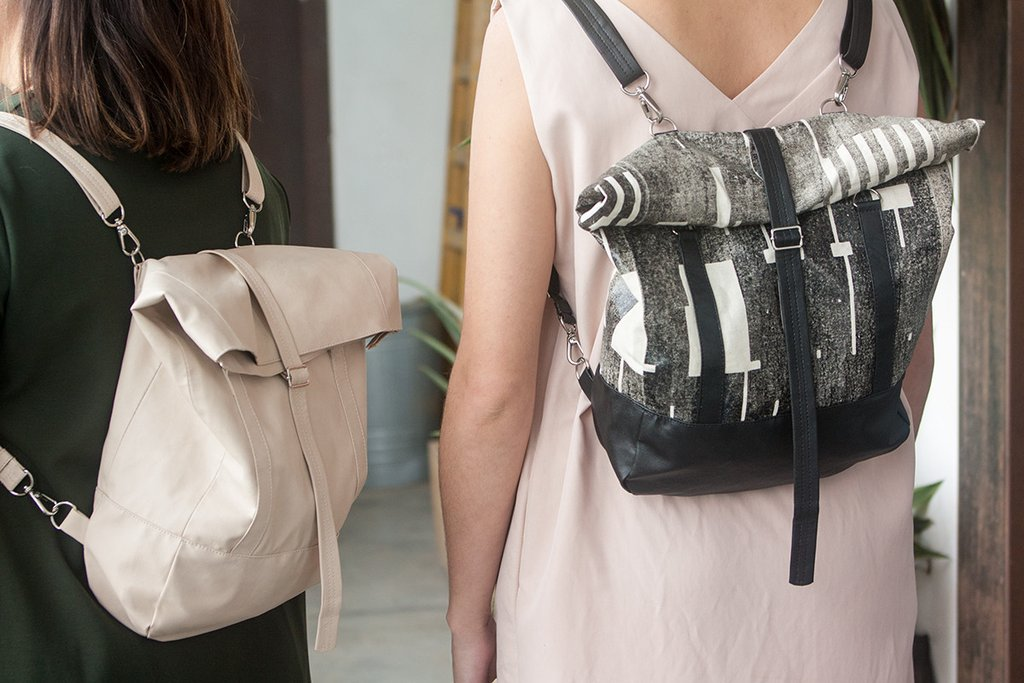 Lee Coren's roll top backpacks are among her favorite items.