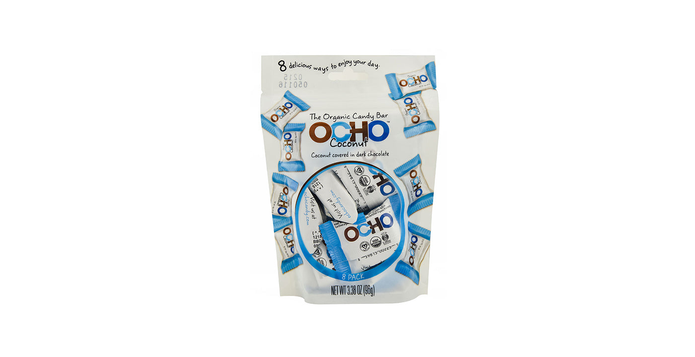 Ocho Individually Wrapped Mini Coconut Chocolate Bars