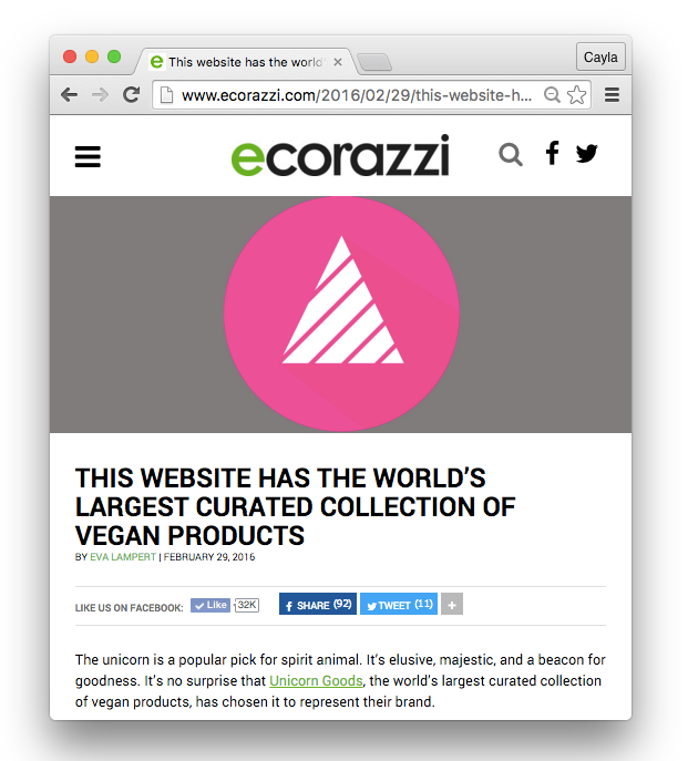 "Unicorn Goods on Ecorazzi: ""This Website Has The World's Largest Curated Collection of Vegan Products."""