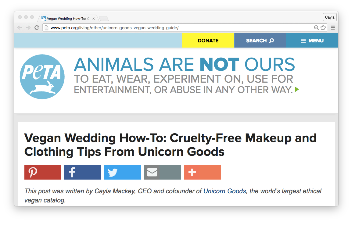 PETA: Vegan Wedding How-To: Cruelty-Free Makeup and Clothing Tips From Unicorn Goods