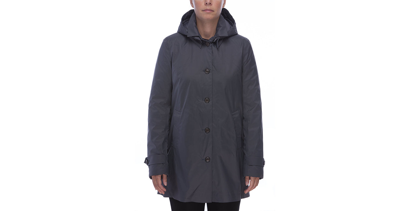 Save the Duck Women's Padded Raincoat in Charcoal Grey