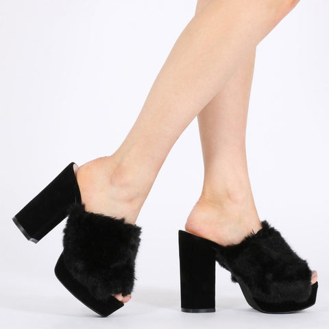 Abigail Faux Fur Platform Mules in Black-Womens Heels-Public Desire-Unicorn Goods
