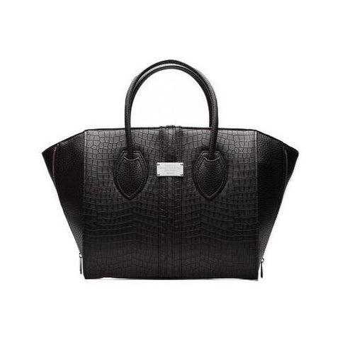Alexandra K Faux Croc Large Handbag in Blackberry-Womens Purse-Alexandra K-Unicorn Goods