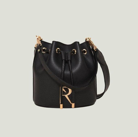Angela Roi Madeline Mini Bucket Bag in Black with Logo-Womens Purse-Angela Roi-Unicorn Goods