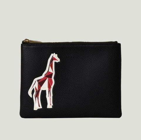 Angela Roi Zuri Travel Pouch with Aisha Giraffe in Black-Womens Clutch-Angela Roi-Unicorn Goods