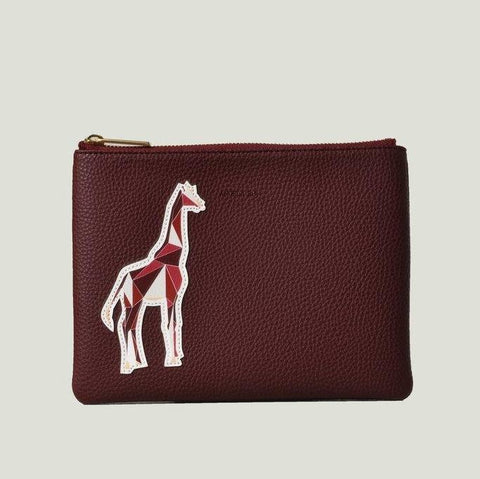 Angela Roi Zuri Travel Pouch with Aisha Giraffe in Bordeaux-Womens Clutch-Angela Roi-Unicorn Goods