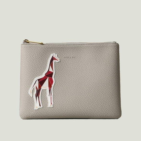 Angela Roi Zuri Travel Pouch with Aisha Giraffe in Cloud-Womens Clutch-Angela Roi-Unicorn Goods