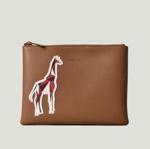 Angela Roi Zuri Travel Pouch with Aisha Giraffe in Russet-Womens Clutch-Angela Roi-Unicorn Goods