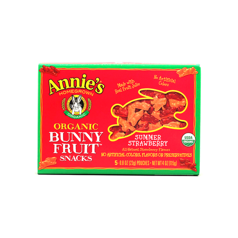 Annie's Homegrown Organic Bunny Fruit Snacks - Summer Strawberry-Candy-Food-Unicorn Goods