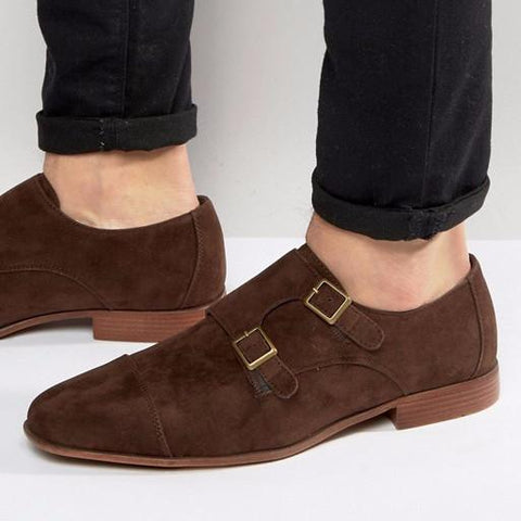 ASOS Monk Shoes In Brown Faux Suede-Mens Loafers-ASOS-Unicorn Goods