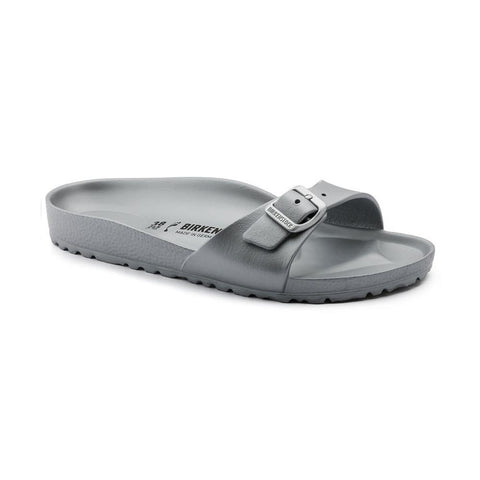 Birkenstock Madrid Slide Sandals in Metallic Silver-Womens Sandals-Birkenstock-Unicorn Goods