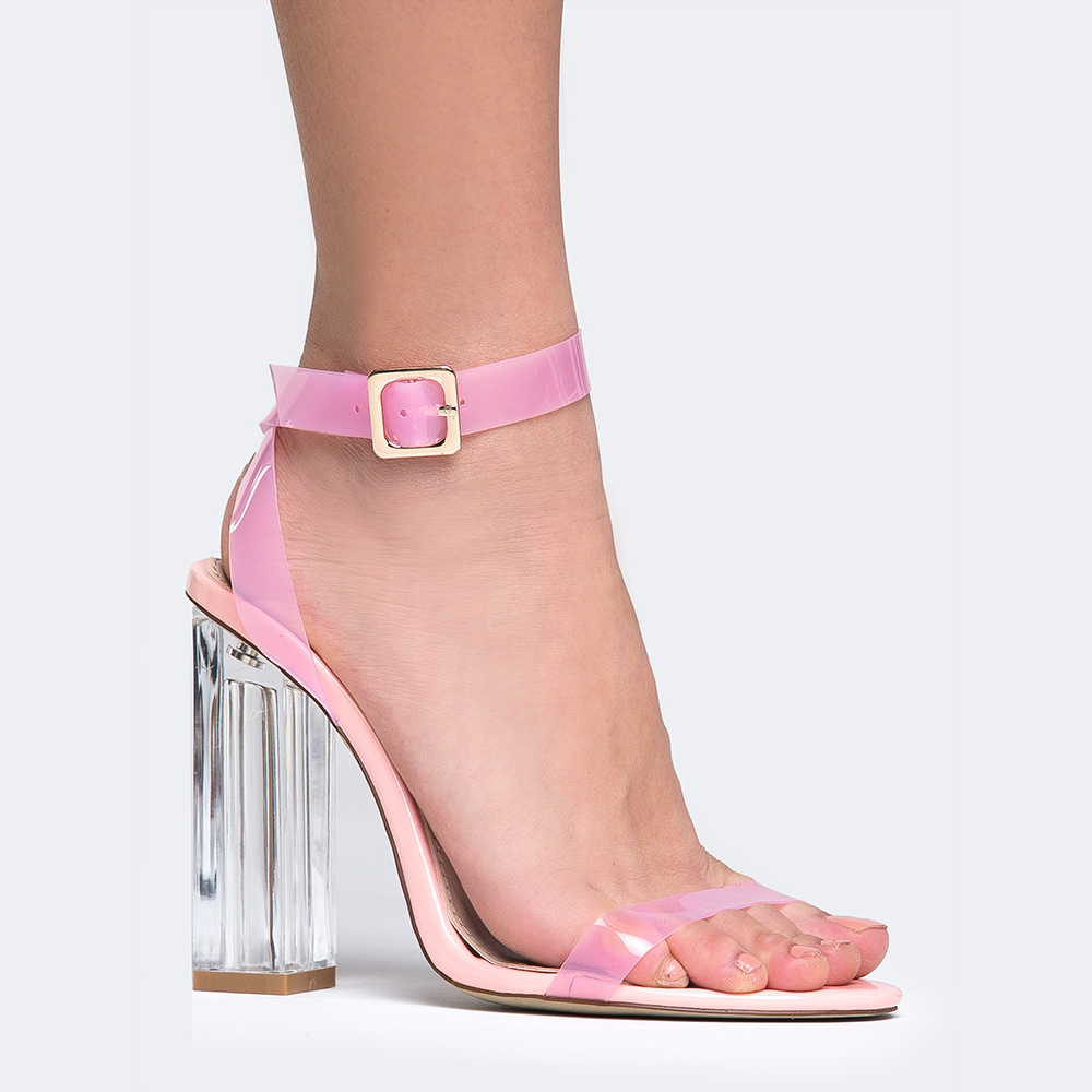 ba894ec07722 Cape Robbins Clear Ankle Strap Heels in Pink-Womens Heels-Zoo Shoo-Unicorn