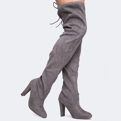 Chase + Chloe Drawstring Thigh High Boots in Grey-Womens Boots-Zoo Shoo-Unicorn Goods