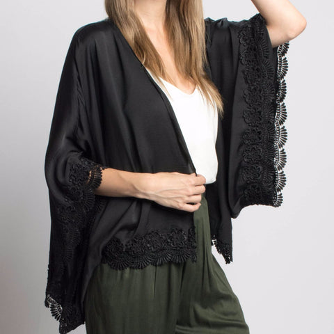 Delikate Rayne Venice Satin and Lace Kimono in Black-Womens Cardigan-Bead and Reel-Unicorn Goods