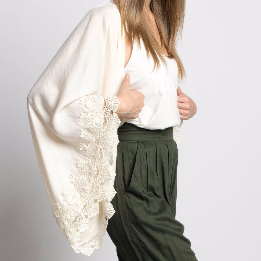 Delikate Rayne Venice Satin and Lace Kimono in Ivory-Womens Cardigan-Bead and Reel-Unicorn Goods
