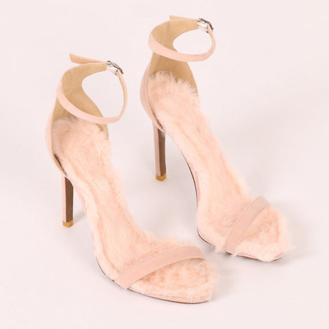 Diana Faux Fur Sole Barley There Heels in Pink Faux Suede-Womens Heels-Public Desire-Unicorn Goods