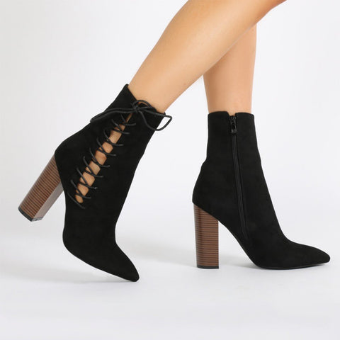 aaef9659d4 Emilia Lace Up Side Pointed Toe Ankle Boots in Black Faux Suede