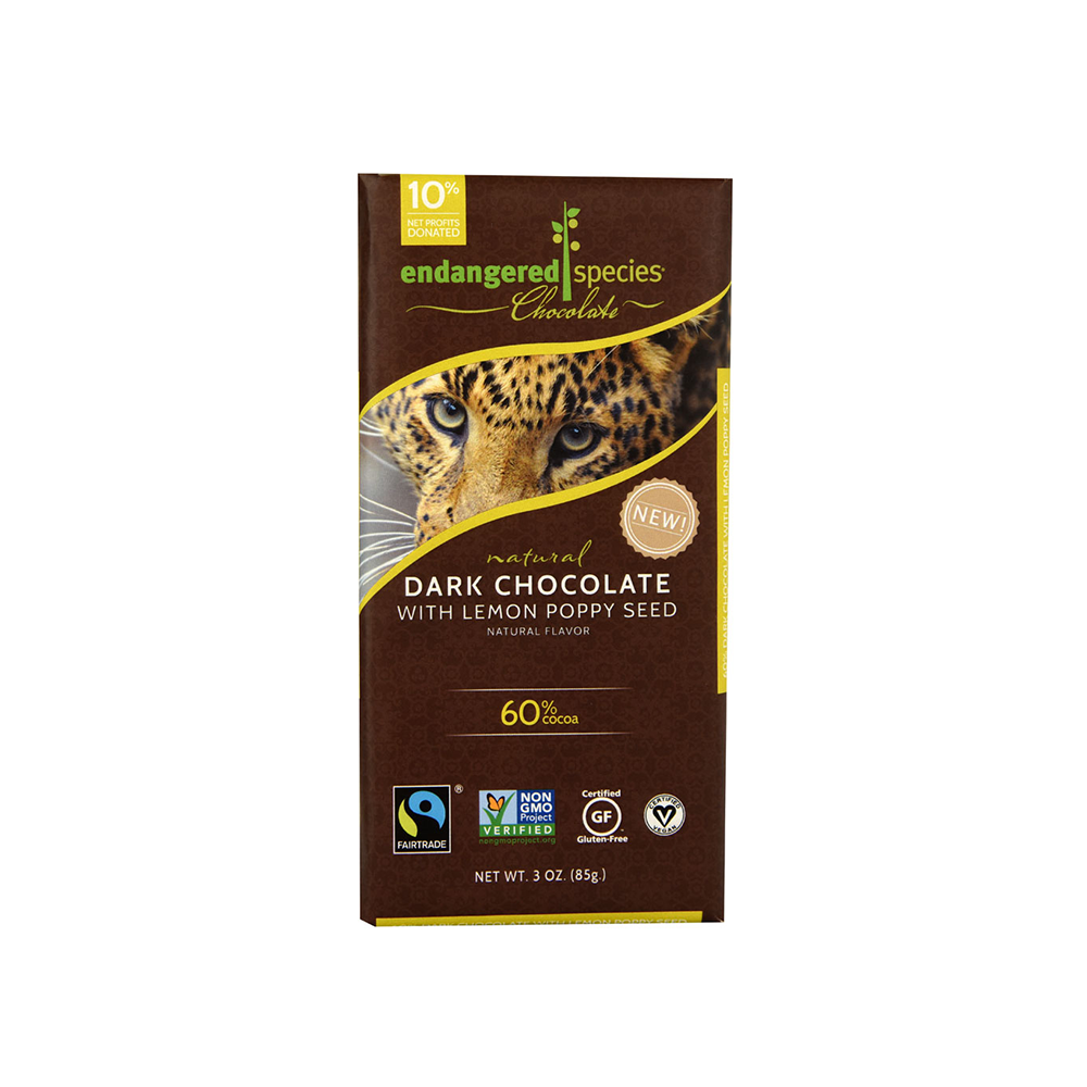 Endangered Species Chocolate - Dark Chocolate Bar with Lemon and Poppy Seeds-Chocolate-Food-Unicorn Goods