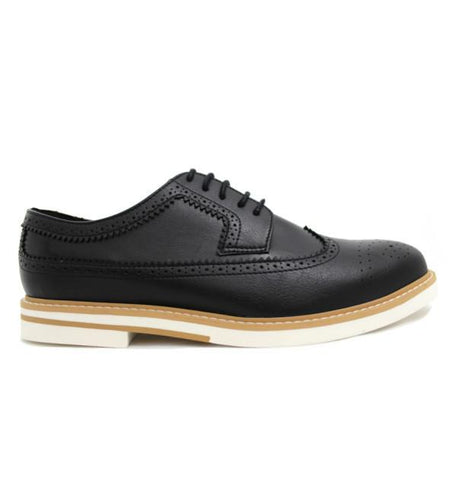 FAIR Contrast Sole Brogues in Black-Mens Dress Shoes-FAIR-Unicorn Goods