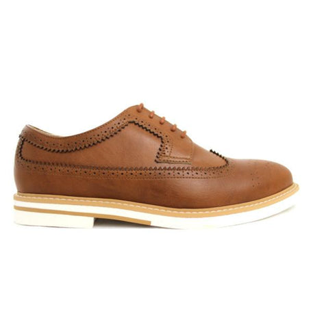 FAIR Contrast Sole Brogues in Tan-Mens Dress Shoes-FAIR-Unicorn Goods
