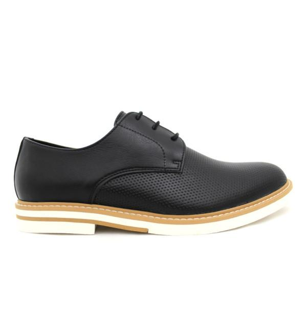 FAIR Perforated Derby Shoes in Black-Mens Dress Shoes-FAIR-Unicorn Goods