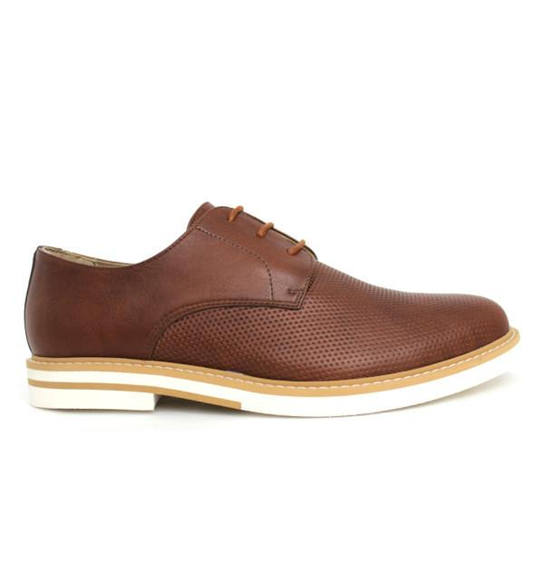 FAIR Perforated Derby Shoes in Brown-Mens Dress Shoes-FAIR-Unicorn Goods