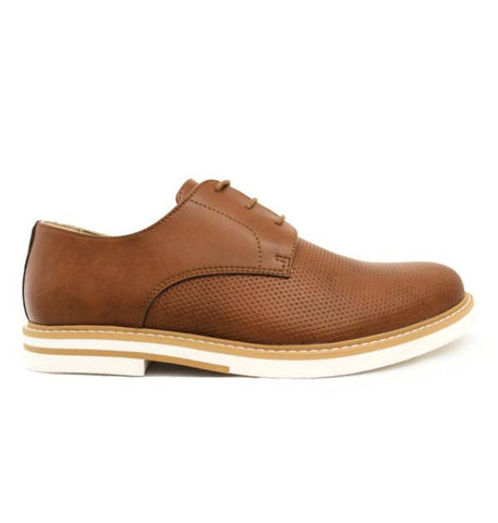 FAIR Perforated Derby Shoes in Tan-Mens Dress Shoes-FAIR-Unicorn Goods