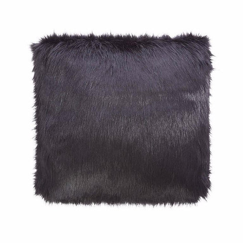 Faux Libby Black Faux Fox Fur Cushion-Bedding-Faux-Unicorn Goods