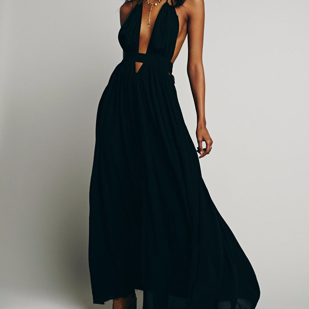 Free People Look Into The Sun Maxi in Black-Womens Long Dress-Free People 1d07e4490