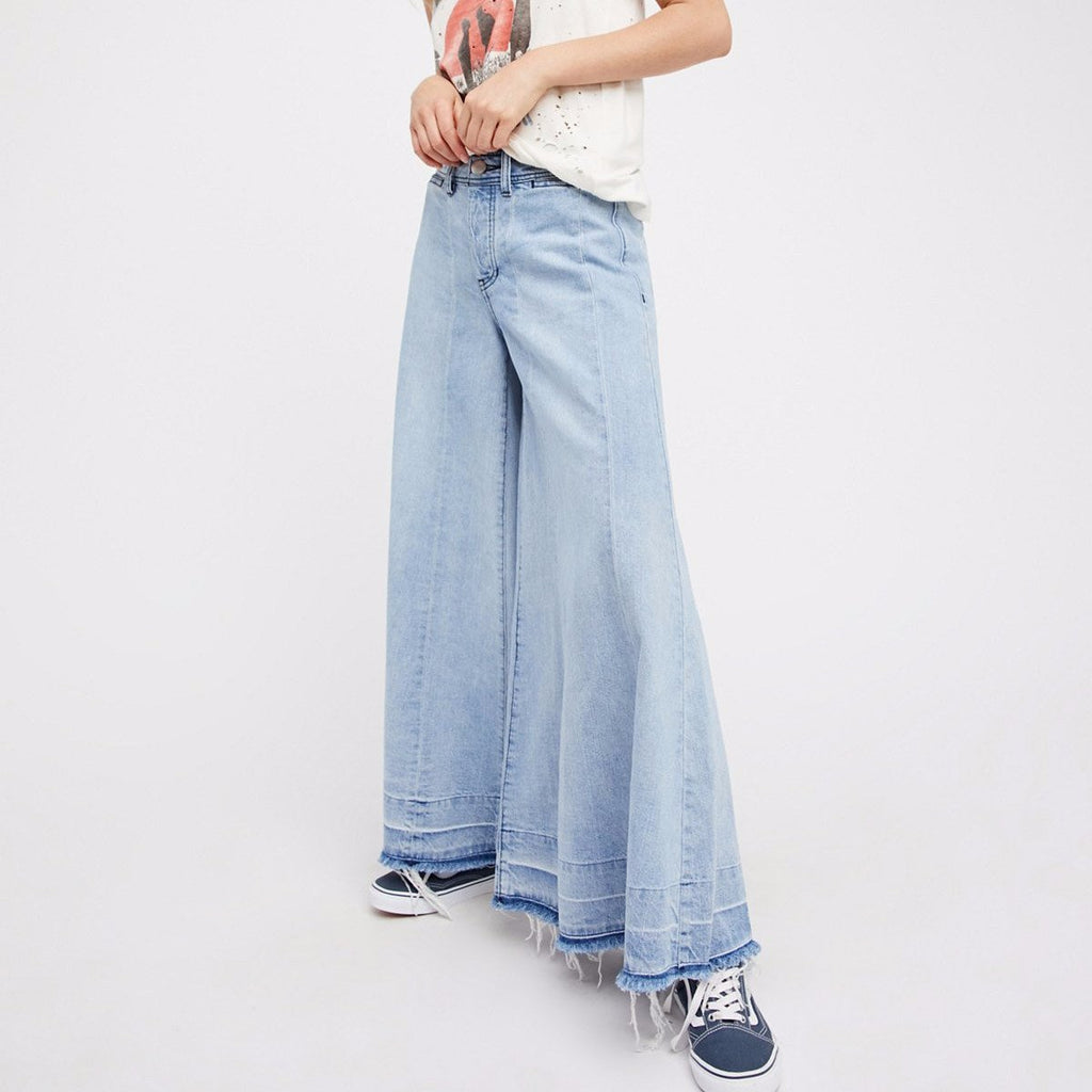 Free People Run Through The Moss Wide Leg Jeans in Dusty Blue-Womens Jeans-Free People-Unicorn Goods