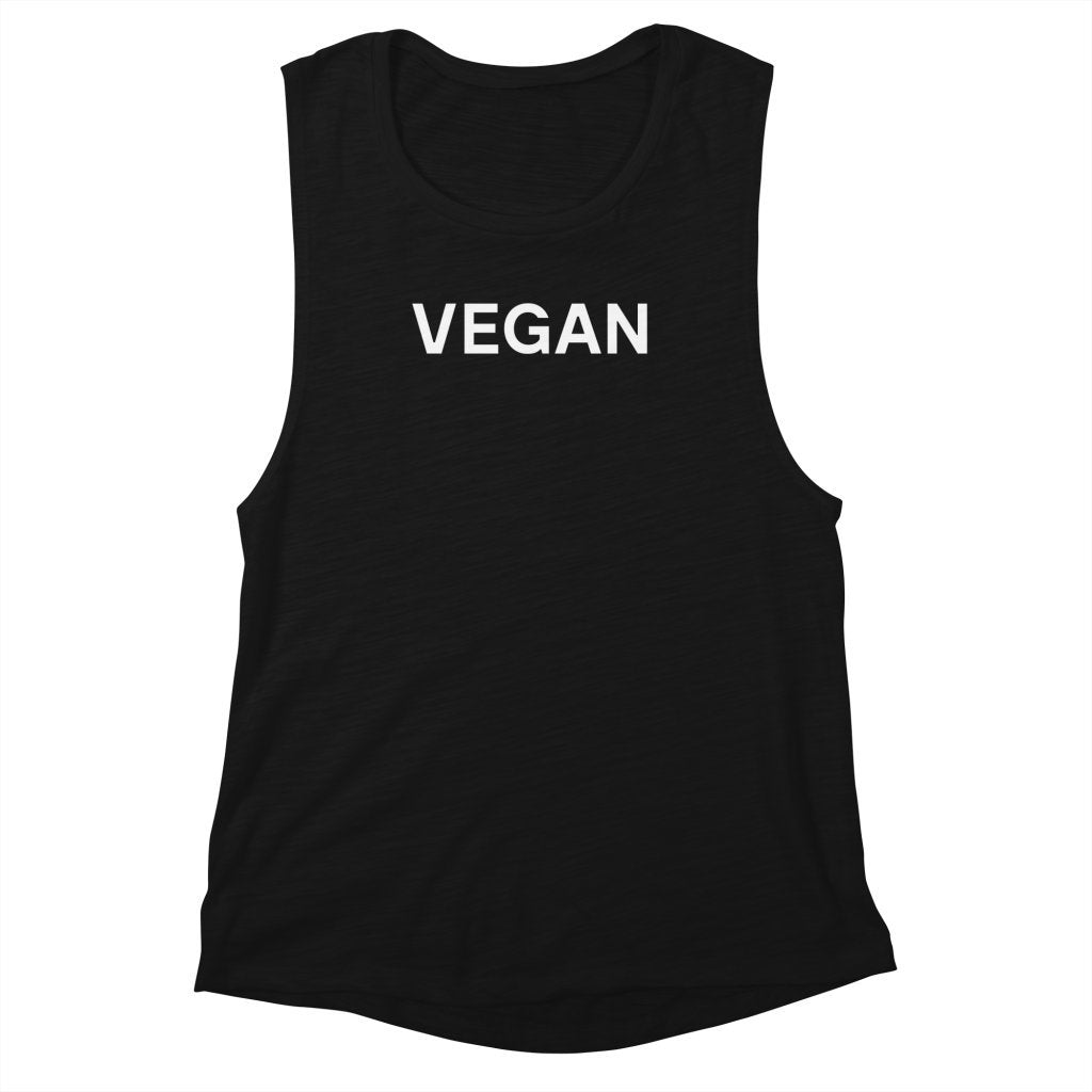 Goods by Unicorn Goods Vegan Women's Muscle Tank in Black Slub-Womens Tank Top-Goods by Unicorn Goods-Unicorn Goods