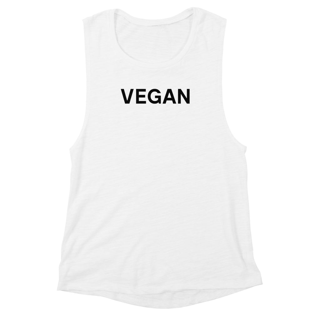 Goods by Unicorn Goods Vegan Women's Muscle Tank in White Slub-Womens Tank Top-Goods by Unicorn Goods-Unicorn Goods