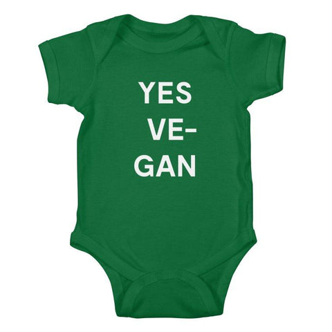 Goods by Unicorn Goods YES VE-GAN Baby Onesie Bodysuit in Kelly Green-Kids - Clothing-Goods by Unicorn Goods-Unicorn Goods