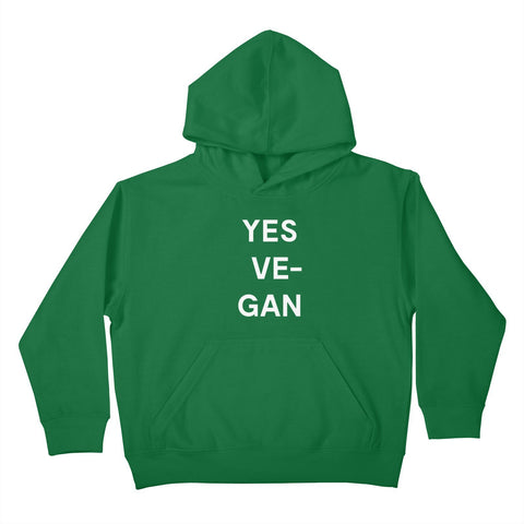 Goods by Unicorn Goods YES VE-GAN Kids Hoodie in Kelly Green-Kids - Clothing-Goods by Unicorn Goods-Unicorn Goods