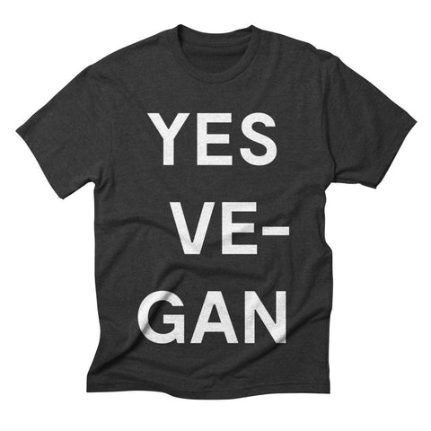Goods by Unicorn Goods YES VE-GAN Men's T-shirt in Grey Triblend-Mens T-shirt-Goods by Unicorn Goods-Unicorn Goods
