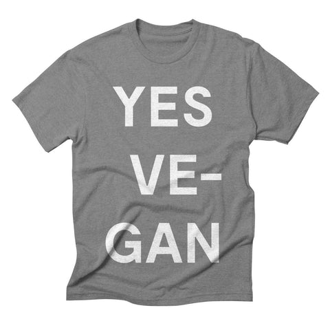 Goods by Unicorn Goods YES VE-GAN Men's T-shirt in Heather Onxy-Mens T-shirt-Goods by Unicorn Goods-Unicorn Goods