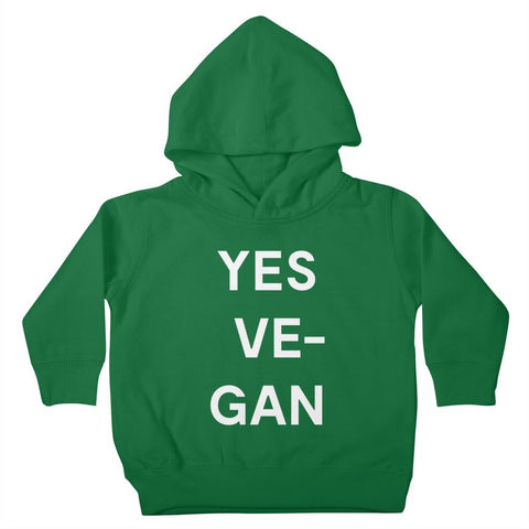Goods by Unicorn Goods YES VE-GAN Toddler Hoodie in Kelly Green-Kids - Clothing-Goods by Unicorn Goods-Unicorn Goods