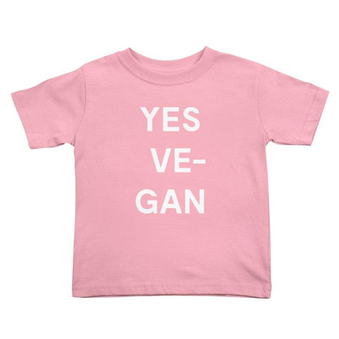 Goods by Unicorn Goods YES VE-GAN Toddler T-shirt in Light Pink-Kids - Clothing-Goods by Unicorn Goods-Unicorn Goods